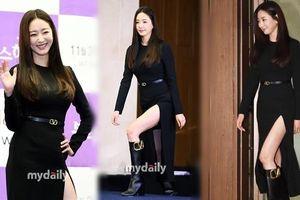 Hoa hậu Hàn Quốc khoe chân thon với váy xẻ cao táo bạo