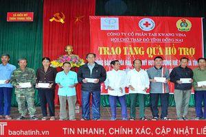 Hội Chữ thập đỏ Đồng Nai, Hải Phòng trao hơn 1.100 suất quà đến người dân Hà Tĩnh