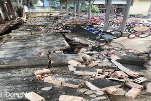 Bức tường trường học 27m bất ngờ đổ