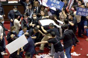 Lòng heo 'bay' trong cuộc ẩu đả tại nghị viện Đài Loan