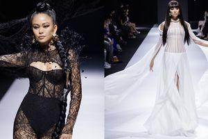 Võ Hoàng Yến, Mâu Thủy diện các thiết kế đại diện cho hai thái cực của người phụ nữ trong show diễn của NTK Long Ng
