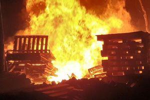 Bình Dương: Hỏa hoạn thiêu rụi xưởng palet gỗ trong đêm