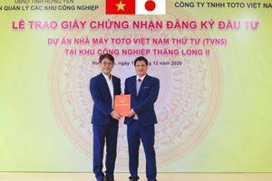 Tỉnh Hưng Yên trao Giấy chứng nhận đầu tư cho TOTO Việt Nam