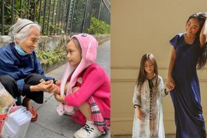 Dân mạng ngưỡng mộ khoảnh khắc con gái Đoan Trang sẵn sàng dùng tiền bỏ heo tặng người già