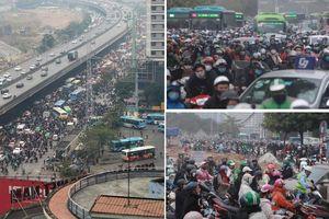 Hà Nội: Đường Phạm Hùng ùn tắc khắp lối, giao thông hỗn loạn từ sáng đến trưa