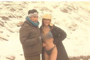 Thời tiết lạnh 'cắt da cắt thịt', gái xinh vẫn bất chấp diện bikini hai mảnh khoe 'vòng 1 khủng'