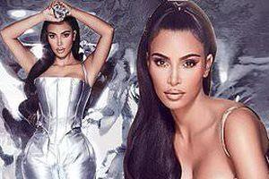 Kim Kardashian thả dáng 'đồng hồ cát' với bodysuit ánh kim