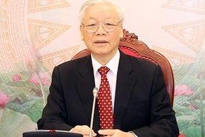 Tổng Bí thư, Chủ tịch nước Nguyễn Phú Trọng điện đàm với Tổng Bí thư Lào Thoong-lun Xỉ-xu-lít