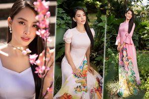 Hoa hậu Tiểu Vy đẹp dịu dàng trong những tà áo dài độc đáo chào Xuân 2021