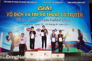 Huyện Vĩnh Cửu dẫn đầu Giải trẻ và vô địch võ thuật cổ truyền tỉnh 2021