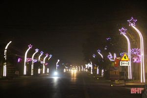 Vô vàn 'cây nêu' điểm tô những con đường ở huyện Nghi Xuân