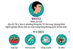 Lịch trình di chuyển của bệnh nhân nhiễm COVID-19 1553 ở Quảng Ninh