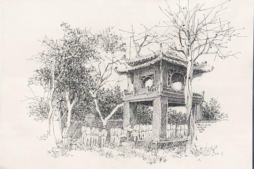 150 tác phẩm ký họa về Văn Miếu - Quốc Tử Giám
