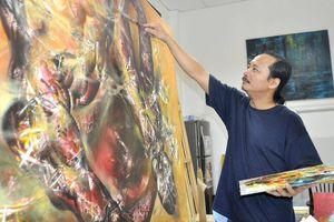 'Hùng sửu' khắc họa uy lực trâu chọi lên tranh sơn dầu