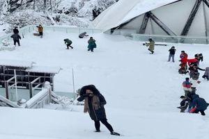 Tuyết đã rơi dày tới 40 cm trên đỉnh Fansipan