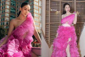 Đụng hàng Thủy Tiên, Hoa hậu Phương Khánh tự tin diện váy cắt xẻ tạo dáng trên xe buýt