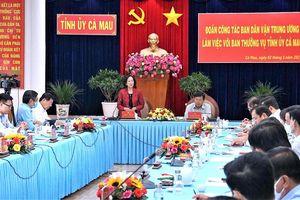 Ban Dân vận Trung ương làm việc với Ban thường vụ Tỉnh ủy Cà Mau