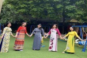 Nữ công nhân, viên chức, lao động quận Đống Đa duyên dáng hưởng ứng 'Tuần lễ áo dài Việt Nam'