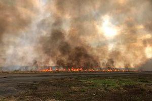 Sân bay Biên Hòa đốt cỏ, khói đen bao trùm cả một vùng trời