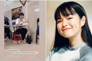 'Bánh bèo' Khánh Vân 'Mắt biếc' khoe ảnh bị bạn chụp trộm trong lớp học, thần thái xinh đẹp khỏi bàn cãi