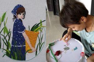 Cô gái 'tay 3 ngón' thêu hàng trăm bức tranh đẹp khiến nhiều người phải nể phục