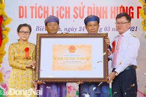 Trao bằng xếp hạng di tích cấp tỉnh đình Hưng Phú