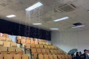 Sinh viên đang ngồi trong lớp, trần nhà đầy nước mưa bất ngờ rơi xuống