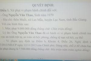Bắc Giang: Xử phạt 9 triệu đồng đối tượng vi phạm quy định về ANTT