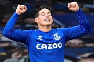 James Rodriguez ghi bàn trong trận hòa của Everton