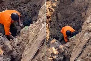 Thực hư thông tin vụ đang đào đường ở Hà Nội thì 'đào được' 1 người đàn ông 'chui dưới lòng đất'