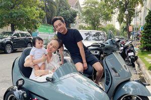 Cường Đô la - Đàm Thu Trang đưa Suchin dạo phố bằng xe máy lạ, fan tròn mắt thích thú