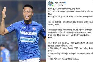 Mạc Hồng Quân và các cầu thủ Quảng Ninh tuyên bố nghỉ V-League nếu còn nợ tiền