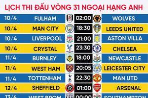 Lịch thi đấu vòng 31 Ngoại hạng Anh: Tottenham đại chiến MU