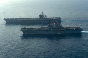 Tàu sân bay, tàu chiến đổ bộ hải quân Mỹ tập trận ở Biển Đông