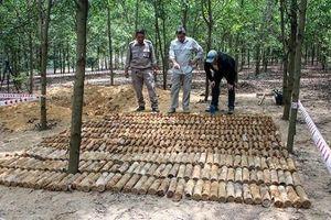Phát hiện hầm chứa gần 500 quả đạn cối, lựu đạn giữa rừng keo trồng