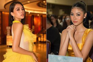 Hoa hậu Tiểu Vy, Người đẹp Biển Đào Hà đọ sắc vóc quyến rũ với váy vàng rực