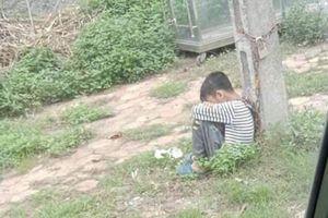 Cha ruột xích cổ con trai 10 tuổi vào cột điện ven đường do lười học