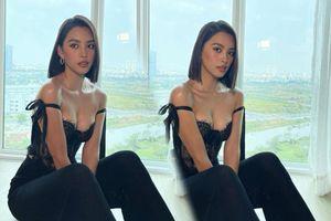 Chao đảo với đôi 'gò bồng đảo' bốc lửa của Hoa hậu Tiểu Vy trong set đồ all black