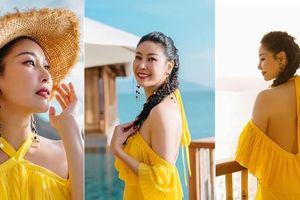 Hà Kiều Anh diện váy vàng rực khoe trọn lưng trần, đẹp như 'nữ thần' trên biển