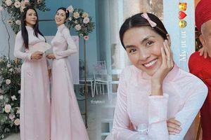 Hà Tăng chiếm spotlight đám cưới khi diện áo dài làm phù dâu