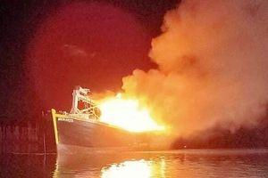 Hai tàu cá ở Vũng Tàu bị thiêu rụi