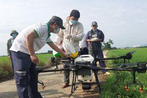 Huyện Thạch Thất: Tổ chức phun thuốc trừ sâu bằng máy bay không người lái