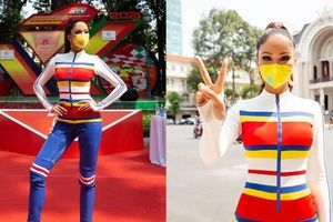 Hoa hậu H'Hen Niê đeo khẩu trang, diện jumpsuit khoe đường cong hoàn hảo cổ vũ thể thao