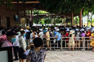Khách xếp hàng dài mua vé vào cổng khu du lịch ở Nha Trang