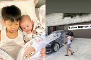 Subeo rửa siêu xe cho bố Cường Đô la trước khi qua nhà mẹ Hà Hồ chơi với 2 em Lisa - Leon?