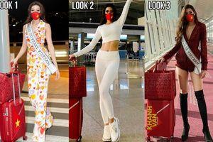 Khánh Vân liên tục thay trang phục trên đường bay đến Mỹ thi Hoa hậu Hoàn vũ