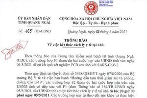 Kết quả xét nghiệm 8 F1 là lãnh đạo, cán bộ tỉnh Quảng Ngãi