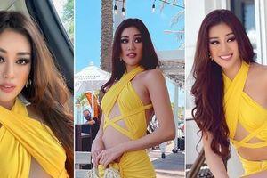 Mặc váy vàng 'chói lóa', Khánh Vân khoe trọn cơ bụng nóng bỏng tại Miss Universe 2020