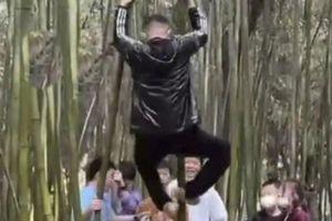 Du khách Trung Quốc leo trèo, khắc tên lên cây tre Thiếu Lâm Tự