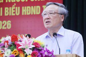 Chánh án TAND Tối cao Nguyễn Hòa Bình, Bí thư Tỉnh ủy Dương Văn Thái tiếp xúc cử tri tại huyện Lạng Giang